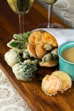 Need to try this - Crisp Tempura Vegetables with Miso-Mustard.
