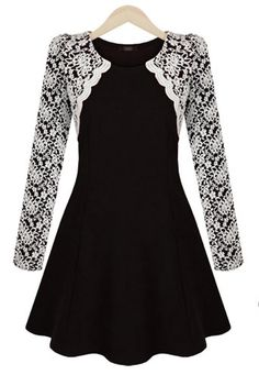 Sophisticated Round Collar Color Block Embroidery Lace Long Sleeves Pleated Dress For Women Lace Dress With Sleeves, Ruffle Dress, Lace Ruffle, Lace Shrug, Sleeved Dress, Colorblock Dress, Ruffle Top, Moda Formal, Look Fashion