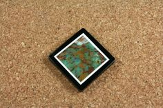 Framed Red Creek Jasper Tablet Pendant - Green Teal and Brown Square Diagonally Drilled Focal