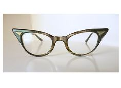 1950's Atomic Rockabilly Striped Cat Eye Glasses by fifisfinds, $225.00