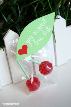 Cherry lollipop Valentine