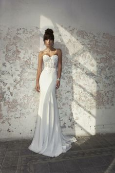 Julie Vino wedding dress. sexy, tight, corset, sleek, beautiful, stunning, long. Bridal gown
