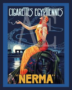 An example of Egyptian influence on Art Deco graphic design.  The lady is sitting in  a sideways manner that mirrors Egyptian wall paintings, and she is dressed in Egyptian style clothing.  She is seated on something resembling the great sphinx monument.  The cigarettes are named Egyptiennes.
