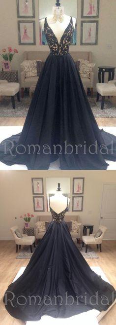 A Line prom dress, long prom Dress, black prom dresses, beaded V-neck prom dresses, formal prom dress, PD0485