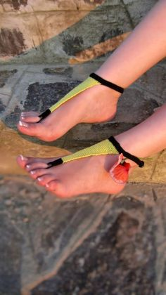 Black Yellow Elegant Wedding Barefoot Sandals, Black Nude shoes, Foot jewelry, Wedding, Anklet , Beach Pool  $15.00 USD