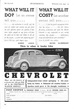 Chevrolet Autocar Car Advert 1935