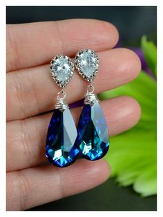 Bermuda Blue Earrings,Something Blue Peacock Jewelry Swarovski Crystal Bermuda Blue Teardrop Bridesmaid Gift Something Blue,drop dangle. $39.99, via Etsy.