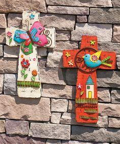 Cross Cheerful Garden Wall Art Set Clay Wall Art, Mural Wall Art, Wall Art Sets, Framed Wall Art, Garden Nook, Garden Wall Art, Crosses Decor, Wooden Crosses, Painted Crosses