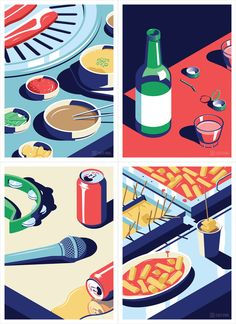 A Night Out in Seoul, a beautiful illustration series created by Coen Pohl. Coen Pohl is a Dutch freelance illustrator and graphic designer who lives and Simple Illustration, Watercolor Illustration, Digital Illustration, Night Illustration, Graphic Design Art, Graphic Design Illustration, Graphic Design Inspiration, Isometric Design, Guache