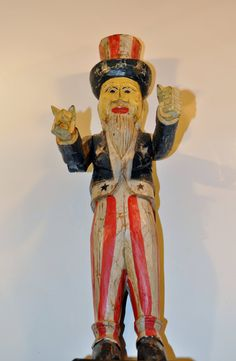 Vintage Uncle Sam Wood Carving USA American Figure Patriotic Sculpture Hand Painted 21 inch tall by decor4home2 on Etsy