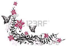 Fleurs rose et noir avec des papillons photo