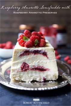 Indulgent Raspberry Amaretto Semifreddo, is everything ice cream wishes it could be – light, creamy, and airy. You will love the swirl of Raspberry Amaretto Preserves in each bite.