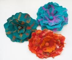 Felted flower corsages