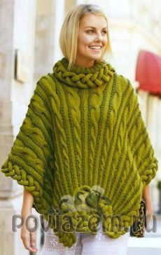 Like the way the cables are rayed, not the knot at the hem. Poncho Knitting Patterns, Crochet Poncho, Loom Knitting, Crochet Afgans, Knitwear Fashion, Crochet Videos, Shawls And Wraps, Colorful Fashion, Clothes