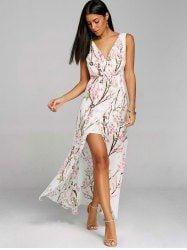 V-neck High Slit Floral Chiffon Flowy Dress - WHITE 2XL Mobile