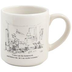 """Ate His Homework"" Cartoon Mug (130 SEK) ❤ liked on Polyvore featuring home, kitchen & dining, drinkware, cat mug, dog mug, black and white mugs, ceramic mugs and kitty mug"