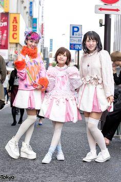 Rikarin, Lemon, and Nachiko on the street in Harajuku wearing kawaii fashion from Conpeitou, Isekai, Cosmic Magicals, 6%DOKIDOKI, Angelic Pretty, and Jane Lemon a di.