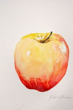 "Watercolor Painting, Apple Still Life, Original, Small Painting, 6""x9"". $25.00, via Etsy. Kristina Closs"
