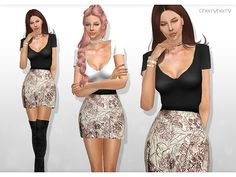 Beautiful party mini dress with a designer skirt and a black belt for female sims. Custom thumbnail,3 colors.  Found in TSR Category 'Sims 4 Female Everyday'