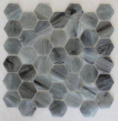 River Rock Recycled Hexagon Glass Mosaic Tile