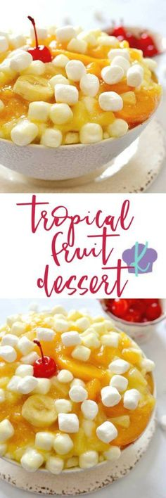 You'll fall in love with this easy to make Tropical Fruit Dessert this summer!  So cool and light, it's perfect for entertaining on a hot day and only takes a few minutes to mix up!