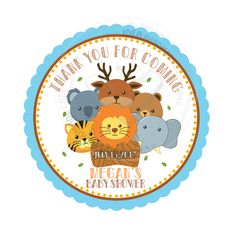 """Custom Zoo Animals Stickers- Safari 2.5"""" STICKERS-Thank you Stickers- Personalized Zoo Animal Heads Theme Stickers 2.5 inches by StudioIdea on Etsy"""