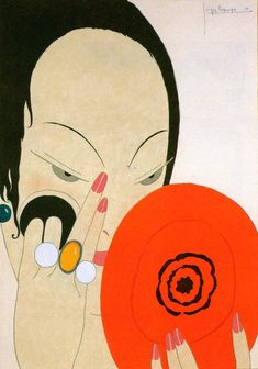Georges Lepape | Le miroir rouge Femme se maquillant Pochoir en couleurs.