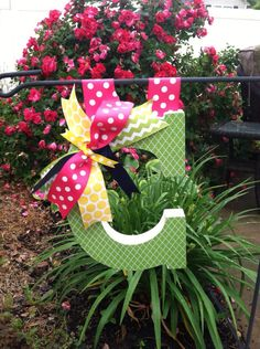 Hang a wooden LETTER from your garden flag post!