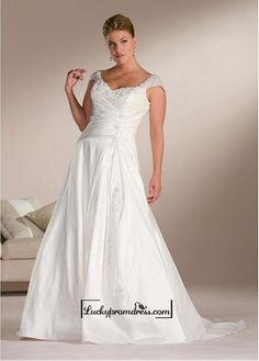 Beautiful+Elegant+Exquisite+A-line+Taffeta+Wedding+Dress+In+Great+Handwork