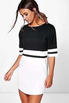 Petite Caris Curve Hem Colour Block Shift Dress