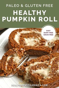 This Paleo Pumpkin Roll is a grain free version of the classic dessert. Tender cake and a creamy filling that is gluten free, dairy free, and naturally sweetened. #paleo #healthy #easyrecipe #dairyfree | realfoodwithjessica.com @realfoodwithjessica Paleo Pumpkin Recipes, Best Paleo Recipes, Gluten Free Pumpkin, Healthy Pumpkin, Real Food Recipes, Free Recipes, Paleo Dessert, Dessert Recipes, Cookbook Recipes