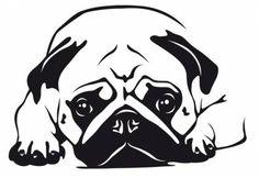 Wandtattoos HundeWandtattoo: Mops 6, 20x30cm, schwarz