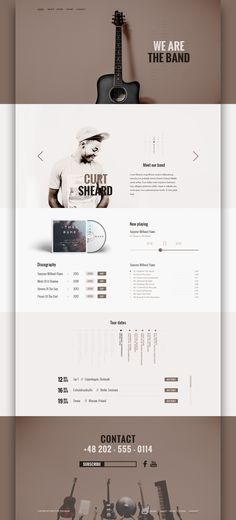The Band - Free PSD Template for music related websites on Behance Web Layout, Layout Design, Website Design Layout, Design Social, Web Ui Design, Page Design, Blog Design, Website Designs, Website Design Inspiration
