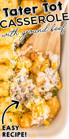 This Easy Tater Tot Casserole with ground beef is great for busy weeknights. It's comfort food at its best that the entire family will enjoy. Budget Dinners, Easy Budget, Dinner On A Budget, Budget Recipes, Grilling Recipes, Slow Cooker Recipes, Beef Recipes, Recipies, Easy Tater Tot Casserole