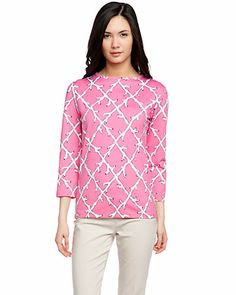 """Some of you have to get in on this: Melly M """"Madison"""" Pink Jade Print Jewel Neck Top"""