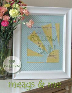 Tomorrow May Rain, So I'll Follow the Sun meags & me Embroidery Pattern #Beatles