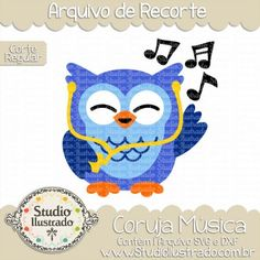 Owl Music, Coruja Música, Ave, Pássaro, Bird, Birds, Cute, Fluffy, Cuddly, Rock, Som, Song, Mp3, Radio, Rádio, Earphone, Fone de Ouvido, Corte Regular, Regular Cut, Silhouette, DXF, SVG, PNG