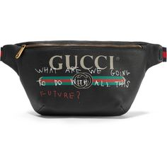 GucciPrinted Textured-leather Belt Bag (£965) ❤ liked on Polyvore featuring bags, black, gucci, colorful crossbody bags, multicolor bag, zipper bag and colorful cross body bags