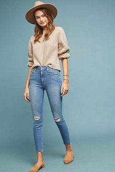 3a1b3cf046 Mother The Looker High-Rise Ankle Fray Jeans