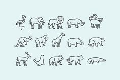 15 Zoo Animal Icons by creativevip on Envato Elements Stick N Poke Tattoo, Stick And Poke, Tattoo Outline, Cat Tattoo, Business Illustration, Pencil Illustration, Alligator Tattoo, Crocodile Tattoo, Animal Outline
