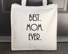 """Best Mom Ever Bag, Natural, Canvas Tote Bag, Beach Bag, Embroidered, 14"""" x 15"""" (Black/Bonnie Font) ***READY to SHIP!"""