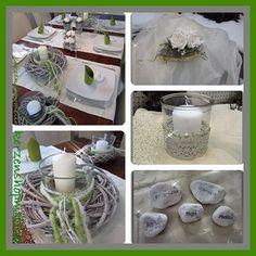 Tischdeko-Deko-Kommunion-Hochzeit-Taufe-Windlicht-Tischgesteck-Platzkarten