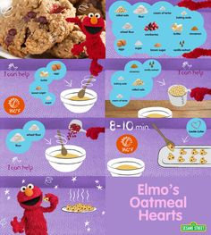 Elmo's Oatmeal Hearts- Parents, make these sweet hearts with your little sweetheart: http://www.sesamestreet.org/parents/topicsandactivities/recipes/hearts #recipe #childrensactivity #baking