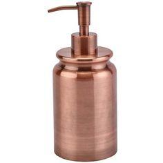 Aquanova Cobre Soap Dispenser - Copper ($30) ❤ liked on Polyvore featuring home, bed & bath, bath, bath accessories, metallic, copper soap dispenser, colored pumps, metallic pumps, red bath accessories and copper bath accessories