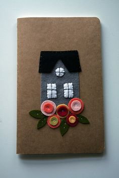 Felt House Notebook Cover
