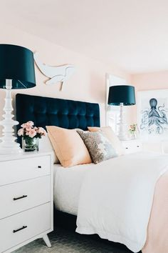 Get inspired by Coastal Bedroom Design photo by HGTV Dream Home Wayfair lets you find the designer products in the photo and get ideas from thousands of other Coastal Bedroom Design photos. Pink Bedrooms, Coastal Bedrooms, Luxurious Bedrooms, Blue And Pink Bedroom, Trendy Bedroom, White Bedroom, Teenage Bedrooms, Cottage Bedrooms, Small Bedrooms