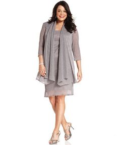 Mother's wear - R&M Richards Plus Size Sleeveless Metallic Dress and Jacket