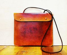 Handmade brown/yellow leather bag - Vintage / Retro Style with Shoulder Strap - ipad - Hand Stitched and Hand Colored