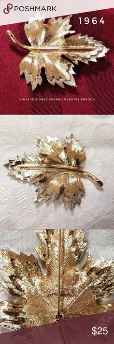 """Vintage/Antique Sarah Coventry Two-Tone Brooch Two-Toned Vintage Sarah Coventry Maple Leaf Brooch signed with """"SARAHCOV"""" imprint in metal. This was sold in 1964 and called """"Nature's Choice."""" Gold and Silver tones, very good condition.  Measures approx. 2-3/4"""" x 2-1/8"""". In very good vintage condition with little wear to metal. The pin itself works well and has no issue.   Gold Tone, Silver Tone, Costume Jewelry, Vintage, Retro, Classy, Pin, Maple Leaf, Leaves, Leaf, Nature, Scarf, Scarves…"""