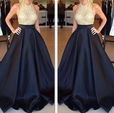 2015 Bling Celebrity Evening Dresses Gold Sequins Black Satin A Line Crew Neck, Custom Made Formal Occasion Prom Gowns Arab